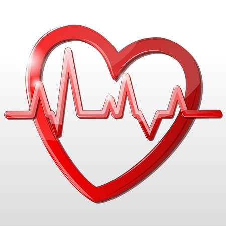 illustration of heart with cardiograph on white background Çizim