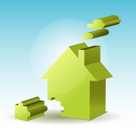 illustration of jigsaw puzzle home on abstract background