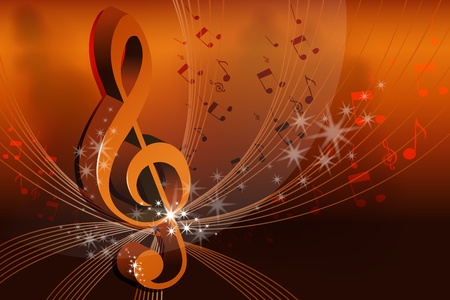 music sheet: illustration of music card on abstract background