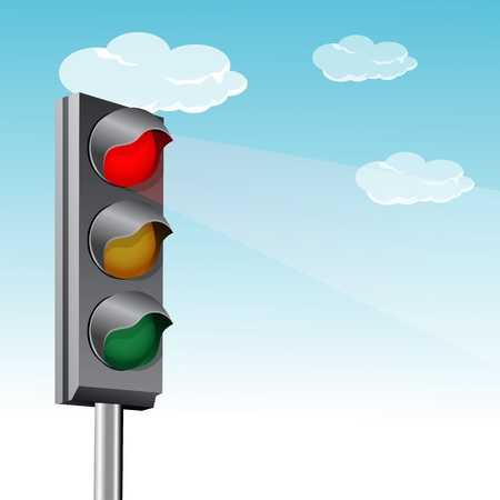traffic pole: illustration of traffic signal with clouds Illustration
