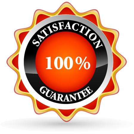 guarantee seal: Ilustraci�n de la etiqueta de 100% de satisfacci�n sobre fondo blanco