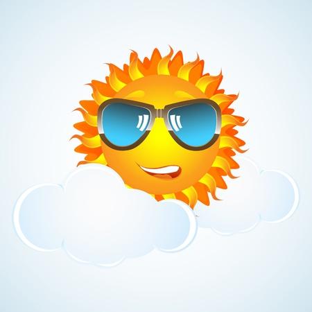 eyewear: illustration of happy sun in cloud with eye-wear on white background Illustration