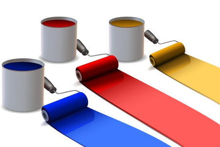 rollers: illustration of colorful paint rollers on white background