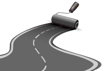 illustration of road roller on white background Vettoriali