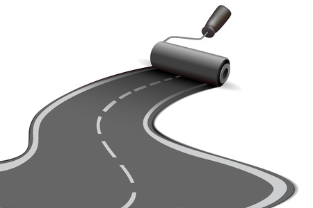 arte callejero: Ilustraci�n del rodillo de la carretera en fondo blanco