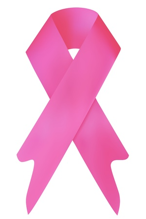 illustration of breast cancer awareness ribbon on white background