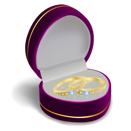 illustration of engagement ring with box on white background