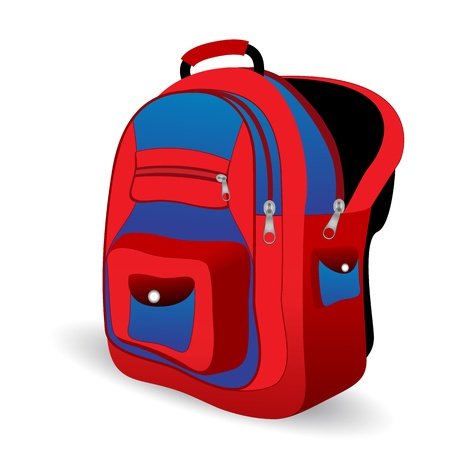 illustration of school bag on white background Vectores