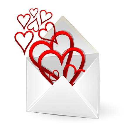 truelove: illustration of loving hearts in envelope on white background