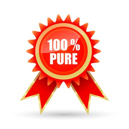 surety: illustration of 100% pure tag on white background