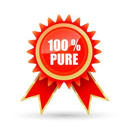 surety: illustrazione del 100% puro tag su sfondo bianco