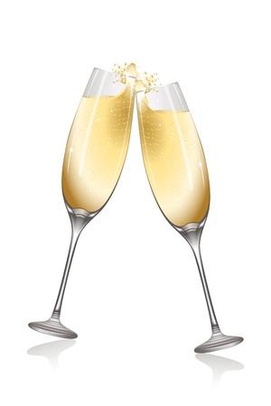 bollicine champagne: illustrazione della celebrazione con vino su sfondo bianco Vettoriali