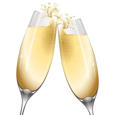 sektglas: Abbildung der Feier mit Wein auf wei�em Hintergrund