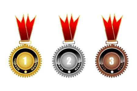 conquistando: Ilustraci�n de medallas sobre fondo blanco