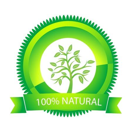 guarantee seal: Ilustraci�n de 100% naturales etiqueta sobre fondo blanco