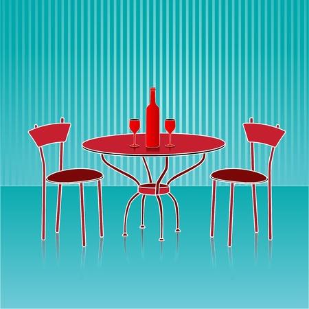 illustration of dinning table set on abstract background Stock Illustration - 9763360