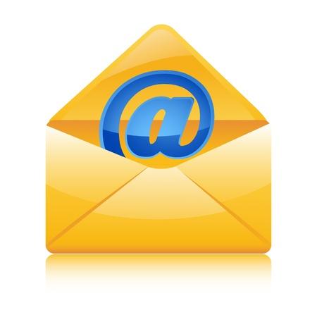 illustration of web icon in envelope on white background