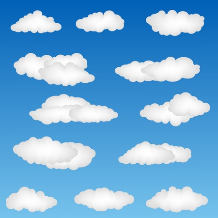 illustration of cloud shapes on abstract background Stock Illustration - 9763409