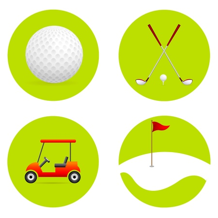 golf cart: illustration of golf elements on an isolated background