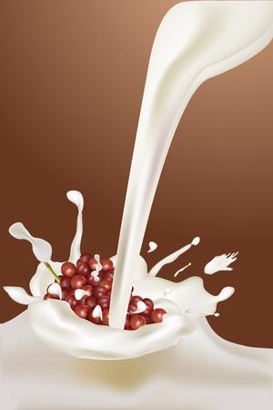 illustration of milk with grapes on white background illustration