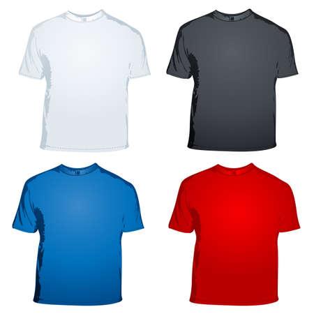 illustration of male t shirts on white background illustration