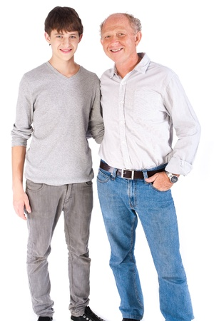 Teenager and grandfather isolated on white background. Stock Photo - 9796203