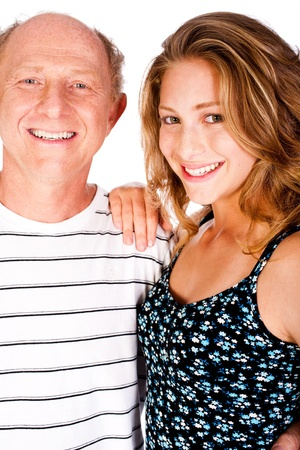 Close-up portrait of happy father and daughter isolated over white background...