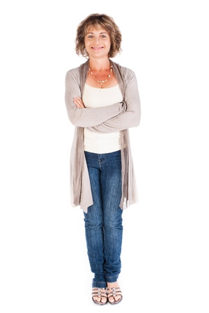 Gorgeous senior lady posing with crossed arms and smiling at camera. Stok Fotoğraf