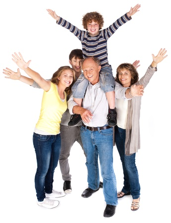 age 5: Happy family of four with young kid isolated on white background..