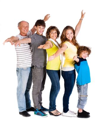 aging american: Attractive, happy caucasian american family isolated against white background..