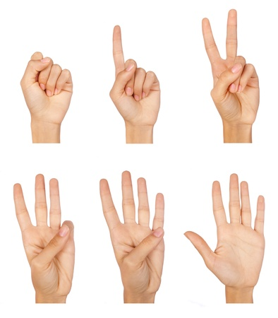 five fingers: Set of counting hands sign isolated on white