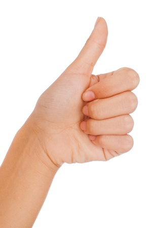 thumb up: Thumbs up gesture. Woman Stock Photo