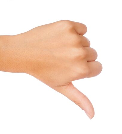 denunciation: Gesture thumb down isolated over white background