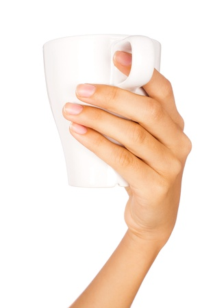 keep clean: Hand holding coffee mug with white background.