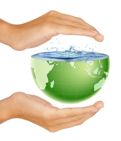feminine hands: Hands around half earth globe. Nature and environment protection concept