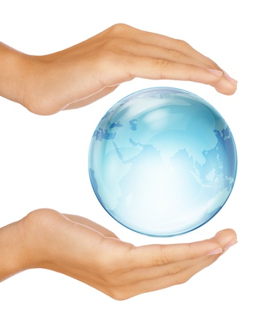 Saving the earth concept: Human hands surrounding the globe isolated on white background Stockfoto