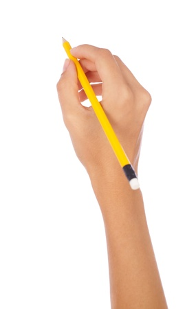 hand holding a pencil on isolated background Stockfoto