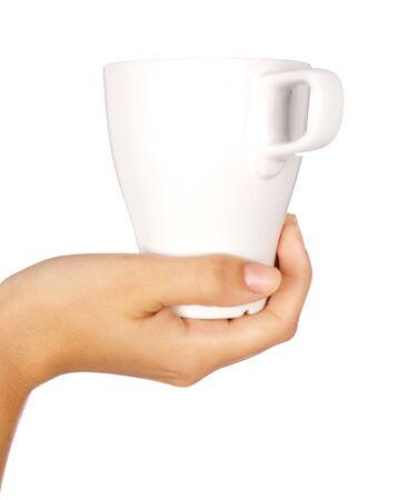 chinaware: Hand holding coffee mug with white background