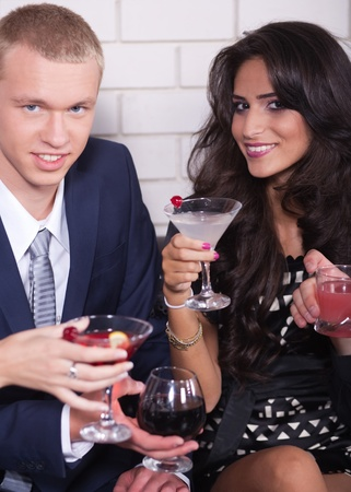 eventing: Couple on date in bar or night club enjoying wine, romantic eventing.. Stock Photo