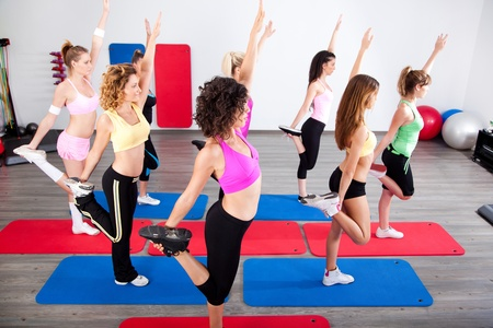 Group of gym people in a stretching class. Stockfoto
