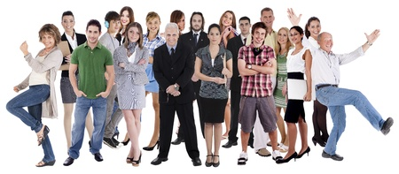 excited people: Collage of various people belonging to different industries, cultures and ethnicity Stock Photo