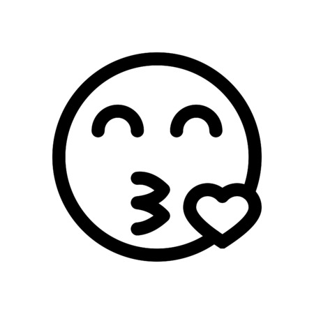 キスを吹く絵文字  イラスト・ベクター素材