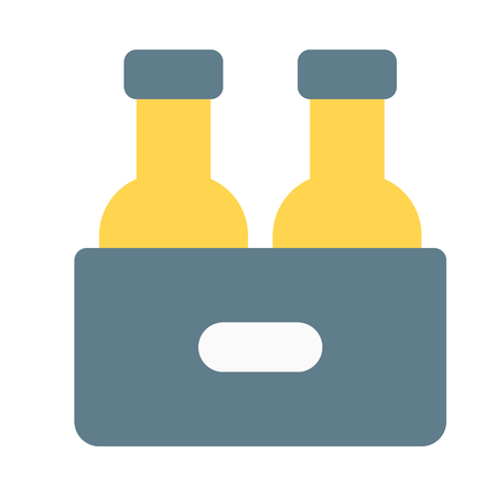 beer bottles in a crate Illustration