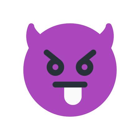 舌が詰まっ悪魔絵文字  イラスト・ベクター素材