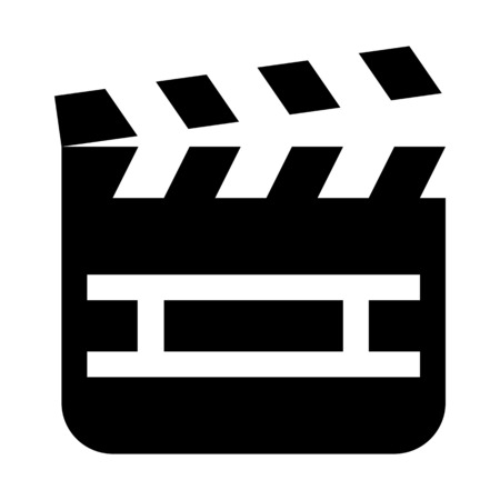 Clapperboard - Video production device illustration on plain background.