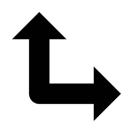 A two-way direction illustration on plain background. Illustration