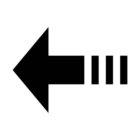 A dashed arrow in left direction illustration on plain background.