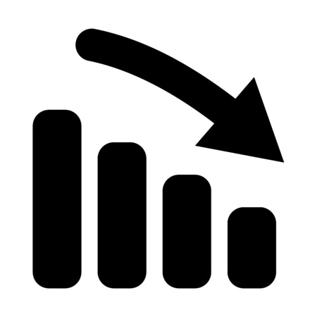 A downtrend bar chart illustration on plain background.