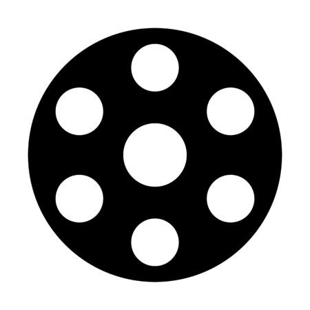 Video film spool illustration on plain background.