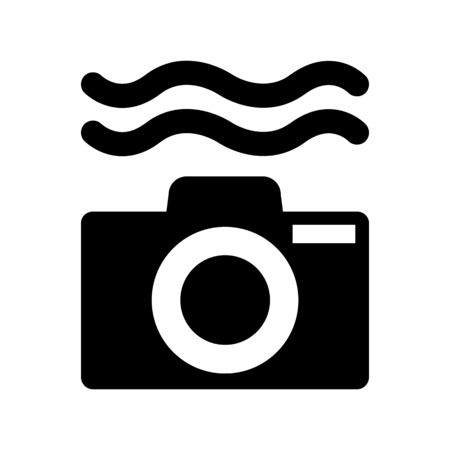 A water resistant camera illustration on plain background.